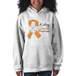Kidney Cancer Survivor Flower Orange Ribbon Hooded Sweatshirt
