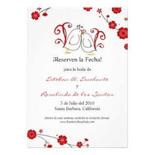 Lovebirids and Cherry Blossoms Save the Date invitations by
