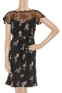 Valentino Lace detail crepe de chine dress