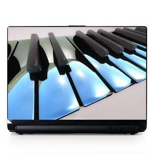 Laptop Computer Skin Dell PC HP Chrome Piano Keys 007