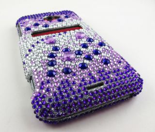 Purple Silver Rhinestone Bling Hard Case Cover HTC EVO 4G LTE Phone