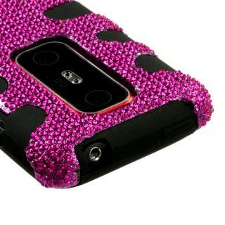 For HTC EVO 3D Hot Pink Bling Black Hard Rubber Armor Skin Case Phone