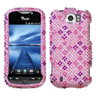 HTC myTouch 4G Slide Case Cover Bling Rhinestones Plaid Hot Pink