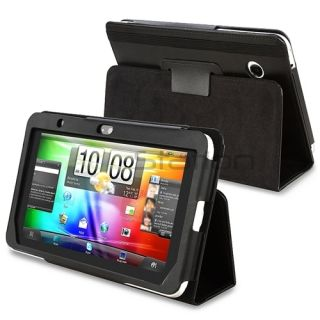 For HTC Flyer Tablet Black Leather Case Smart Cover Pouch