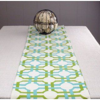 Green Table Runner 108 inch long, Orange Tablecloth