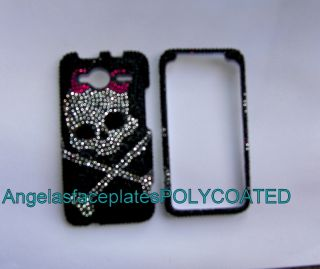 SKULL bling rhinestone PINK silver HTC EVO SHIFT 4G A 7373 phone case