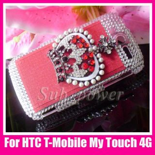 Red Rhinestone Crown Bling Crystal Case Cover for HTC T Mobile myTouch