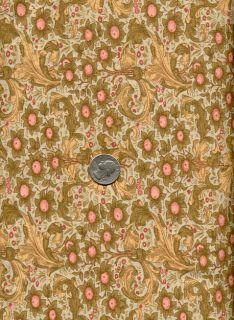 RARE Rose Hubble Art Nouveau William Morris Fabric Orchard Sage Gold