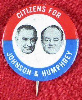 Campaign Button Lyndon B Johnon Hubert H Humphrey 1964 365