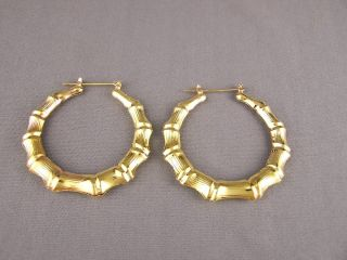 Gold Tone Big Hoops Bamboo Earrings 2 1 8 Door Knocker Hoop Hollow
