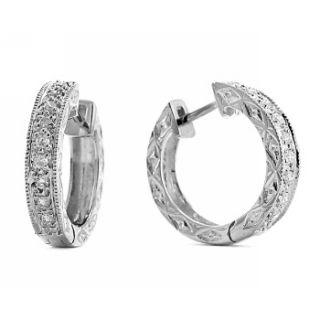 Gorgeous Diamond Huggie Earrings Hoops 14k White Gold Vintage Antique