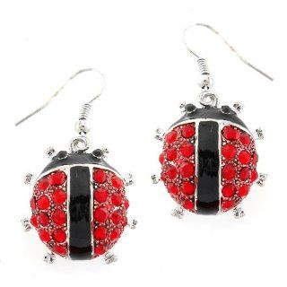 Ladybug Pave Crystal Dangle Earrings Jewelry