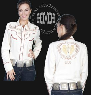 PL 806 Scully Western Cowgirl Shirt Scroll Cross Embroidery XS
