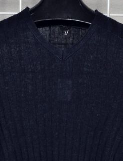Hugo Boss Black V Neck Sweater Tansy Linen Ribbed Navy Blue New $245