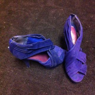 Madden Girl Steve Madden Hulbert Blue Purple Stilleto Suede Heel Pump