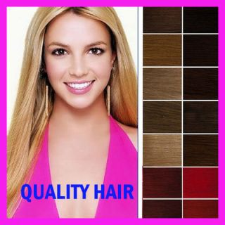 Clip in on Remy Human Hair Extensions Straight DIY Full Head 19Colors