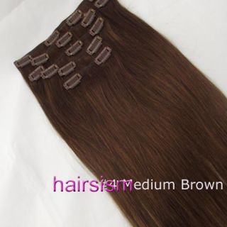 20 7pcs Clip in Remy Human hair Extensions In Fashion 70g 4 straight