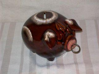 Vintage 1957 Hull Pottery Corky Pig Bullseye Piggy Bank   Dark Brown