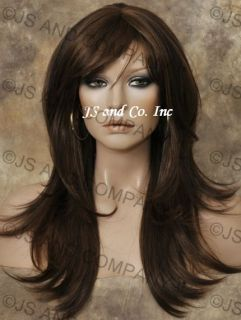 Human Hair Blend Wig Long Straight Brown Auburn Mix Wms