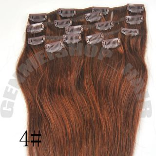 15182022Clip in Remy Real Human Hair Extensions Straight Any Color