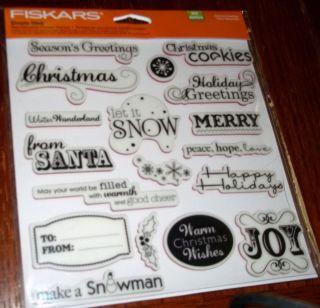 REPOSITIONAL RUBBER STAMPS SEASON GREETINGS ~CHRISTMAS,JOY,SANTA wks