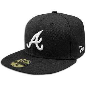 New Era MLB 59Fifty Black & White Basic Cap   Mens   Braves   Black