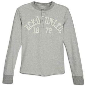 Ecko Unltd Logo L/S Henley   Mens   Casual   Clothing   Metal Grey