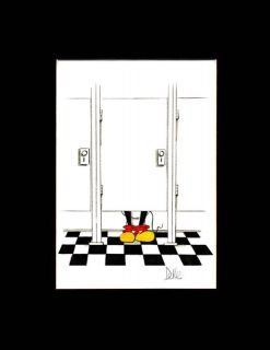 Humorous Print of Mickey Mouse in Tile Bathroom