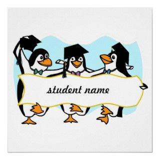 Pingüinos de graduación felices w/Banner del baile Posters de