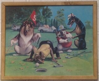 Millsap Humorous Framed Print of Dogs Playing Golf