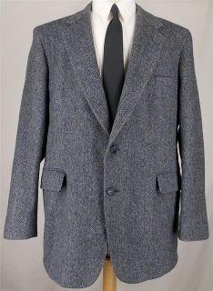 46 R Hunt Valley NAVY BLUE GRAY WOOL TWEED 2 B sport coat jacket suit