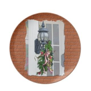 Lamp Post Wreath Christmas Plate