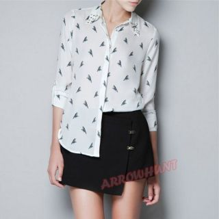 Parrot Printing Shirts Rivet Cotton Collar Lapel Blouses Perspective