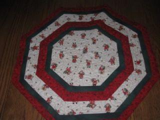 Handmade Table Topper Runner Christmas Santa Quilted
