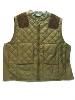 Polo Ralph Lauren Quilted Hunting Shooting Vest w Leather Trim Men's