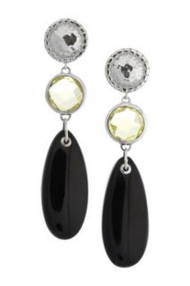 Monica Vinader Mini Luna sterling silver, green gold quartz and black onyx earrings   54% Off
