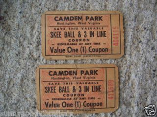 Ticket s Camden Amusement Park Huntington West Virginia WVA WV