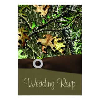 Chocolate Brown Hunting Camo Wedding RSVP Cards Personalized