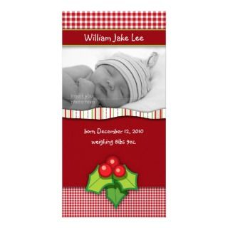 Christmas Gingham Check Baby Photo Card