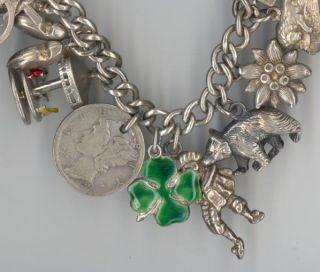 Antique .800 .900 Sterling Silver Charm Bracelet 24 Charms 1928 D