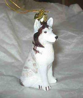 New Siberian Husky Blown Glass Xmas Ornament Retired