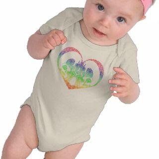 Rainbow Damask Skulls Heart Organic Tee Shirt