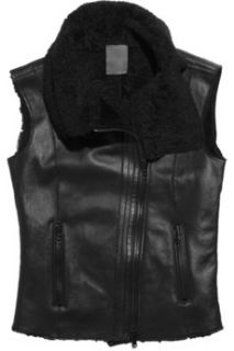 Lot78 Esme shearling biker vest   85% Off
