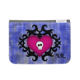 Super cute gothic damask skull heart fuschia blue kindle cases