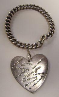 Vintage Walter Lampl Sterling Silver Large Charm I Love You Bracelet