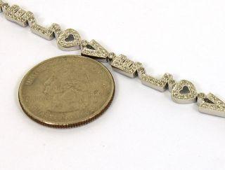 14k w Gold Diamonds Ladies Stylish I Love You Link Bracelet
