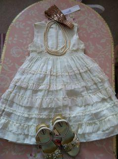 NWOT I Pinco Pallino Ivory Ruffle Cotton Dress 5 6Y