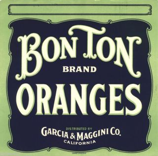 Orange Crate Label Vintage Bon Ton San Francisco 1920s