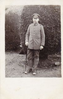 WW1 Photo of German Army Officer with Walking Stick