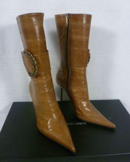 Gianmarco Lorenzi Camel Brown Eel Leather Calf High Boots 37 UK 4 BNIB